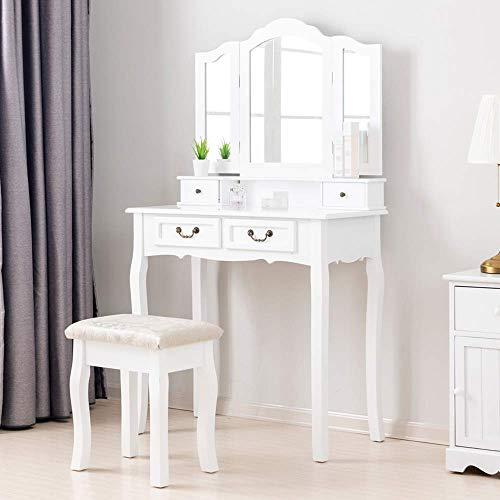 Amerlife Schminktisch, Kosmetiktisch mit Hocker, 3 Spiegel und 4 Schubladen ideal für Damen & Teenager & Mädchen, Weiß