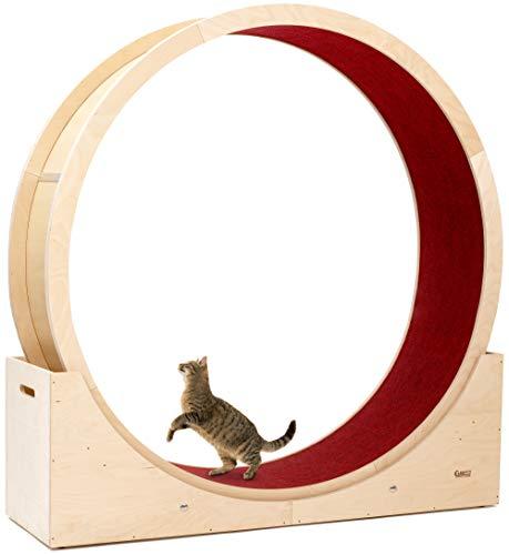 Elmato 10720 Simba XXL Katzenlaufrad komplett montiert deutsche Qualität in Birke Natur, roter Teppich ca. 140cm