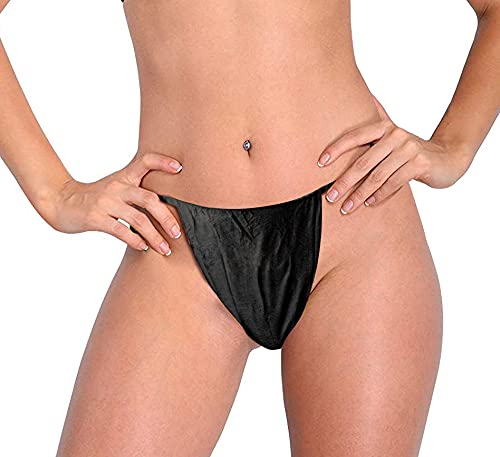 Heestar Professional Salon Mens Black Boxer Shorts made of Nonwoven Disposable for massage or other treatments and Spray Tanning Services, 100Count (Black Thong for Women)