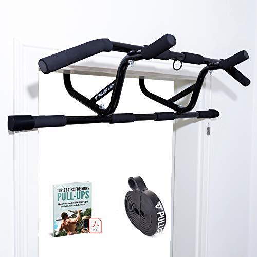 PULLUP & DIP Klimmzugstange für Türrahmen zum Einhängen ohne Schrauben und kein Abrutschen, Profi Türreck, Pull-up Bar mit gepolsterten Griffen inkl. Klimmzug Band + eBook