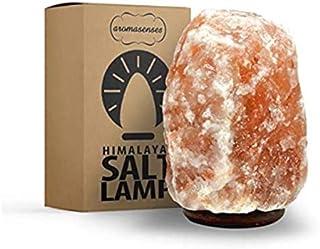 AROMASENSES Lámpara de Sal del Himalaya (8-10 kg) con Base de Madera, Cable y Bombilla - Natural 100% - Hecha a Mano.