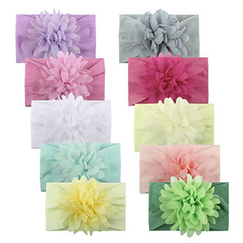 N/AB 10 diademas de flores grandes para bebé, diademas para niñas, con lazos, cinta para el pelo, turbante, diadema, para el pelo, para recién nacidos b Talla única