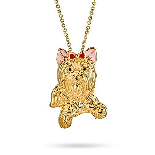 Bling Jewelry BFF Beste Freundin Yorkshire Terrier Rosa Schleife HaúStier Hund Pin Brosche Anhänger Halskette Für Frauen Für Teen 14K Vergoldet