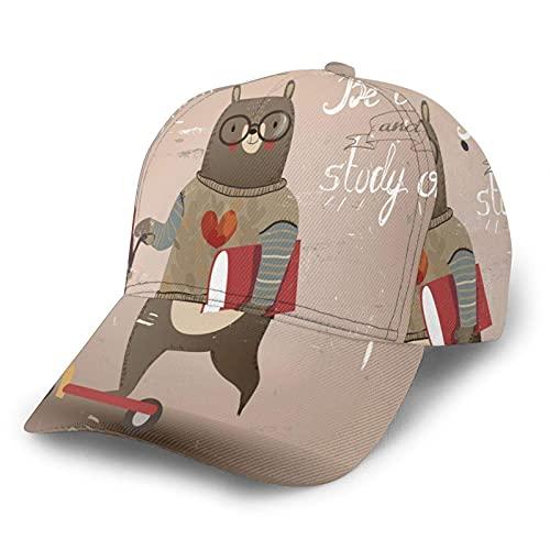 Gorro de béisbol para hombre y mujer, con cita de oso en scooter Be Calm and Study On Ajustable Snapback Sombreros de béisbol Unisex