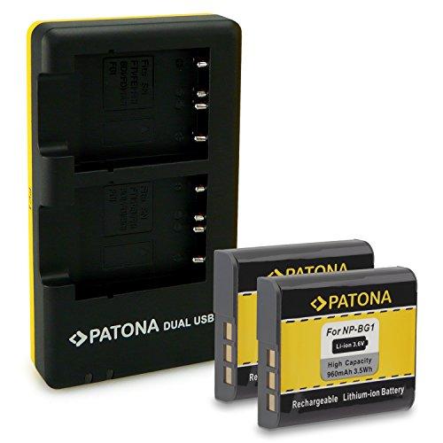 PATONA Cargador Doble + 2X Bateria NP-BG1 Compatible con Sony CyberShot DSC-H9, DSC-H10, DSC-W90, DSC-W100, DSC-W200