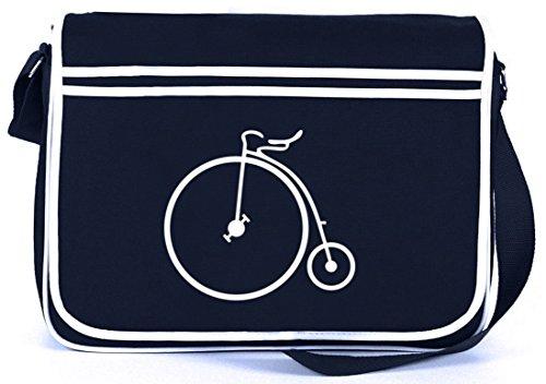 Shirtstreet24, Hochrad, Bike Fahrrad Retro Messenger Bag Kuriertasche Umhängetasche , Größe: onesize,Navy