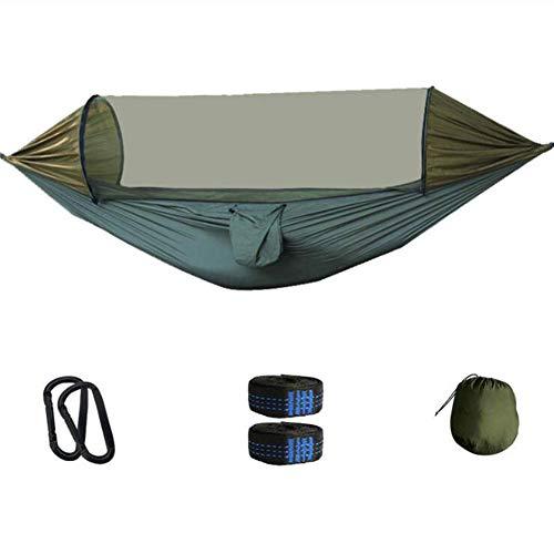 LINZXU-Outdoor Camping Hangmat Automatische Snelheid Open Muggennet Hangmat met Paal Draagbare Tent Geschikt voor Tuin Terras en Reizen Ondersteuning 300 Kg Touw Karabijnhaak