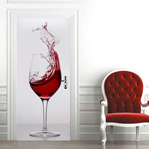 3D Etiqueta de Puerta Autoadhesiva 88X200CM,Extraíble de Bricolaje Pegatinas de Pared decoración de Hogar Arte Moderno Vinilos Puerta Pegatina- Copa de Vino