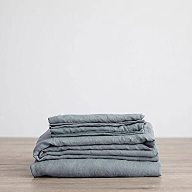 Merryfeel Luxurious 100% Pure French Linen Sheet Set - Queen - Duck Egg