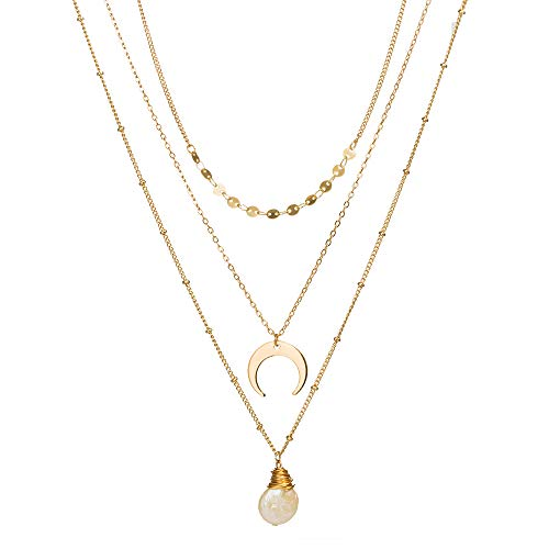3 Tier Pendant Necklaces, Dainty Gold Multilayer Long Chain NecklacesJewelry for Women and Girls,Mother Day Gift