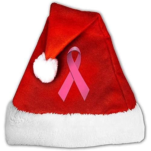 Kenice Rojo Y Blanco Gorro Navideño,Sombreros De Santa,Gorro Navideño De Santa,Cinta Rosada Conciencia De Cáncer...