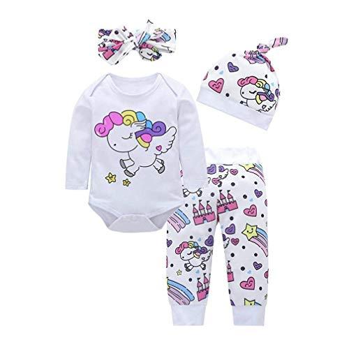 4 Pcs Baby Mädchen Kleidung Set Einhorn Dinosaurier Gedruckt Langarm Top Shirt + Hose + Bogen Stirnband + Hut