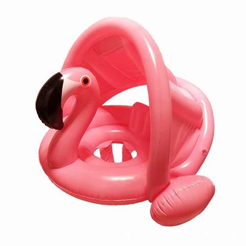 mciskin Fenicottero Anello di Nuoto,Barca per Bebè gonfiabili Piscina Baby Salvagente Bambini Float con Parasole per 6-48 Mesi Toddler Kids Child(Rosa)