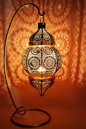 Oosterse lantaarn van metaal Shah Gold 55 cm | Oosterse Marokkaanse windlicht tuinwindlicht | Marokkaanse metalen lantaarn voor buiten als tuinlantaarn, of binnen als tafellantaarn