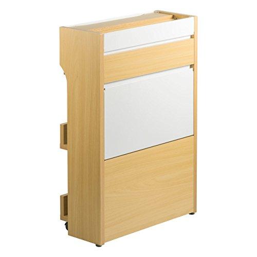 サンワダイレクト ケーブルボックス タップ/ルーター 収納ボックス 高さ63cm 3段収納 「手前に開く」扉付き 充電ステーション 大型 ライトブラウン 200-CB013LM