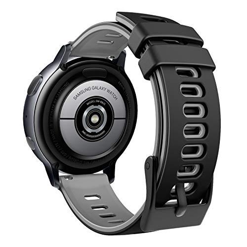 MoKo Correa Compatible con Garmin Forerunner 245/Galaxy Watch 3 41mm/Galaxy Watch 42mm/Active/Active 2, Banda Deportiva de Repuesto Silicona Suave de Dos Colores, Negro&Gris