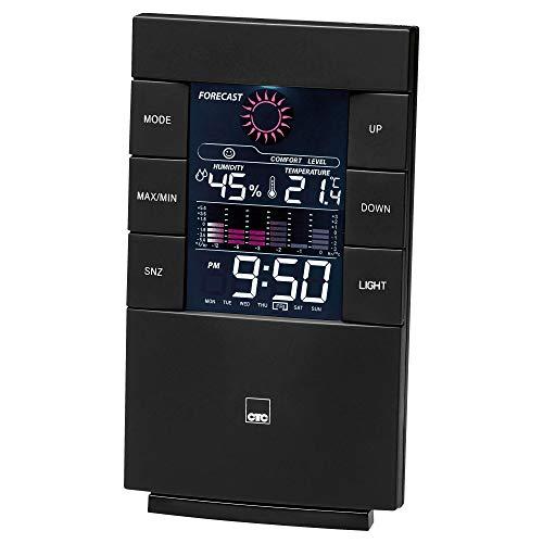 CTC WSU 7024 - Estación meteorológica multifuncional con reloj y pantalla LCD a color (con iluminación conmutable), soporte y montaje en pared, color negro