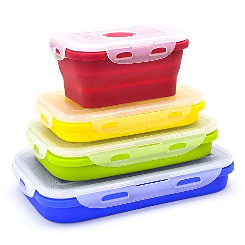 Zusammenklappbare Silikon-Aufbewahrungsboxen, wiederverwendbar, isolierte Aufbewahrungsboxen, Bento Lunchboxen, Set von 4 verschiedenen Kapazitäten, BPA-frei, ofen- und mikrowellenfest (Farbe)