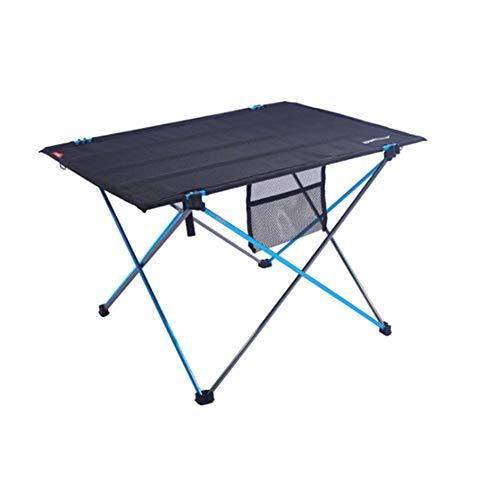 APXZC Mesa plegable portátil, ligera, de material de nailon, con red de almacenamiento, patas de aluminio, seguridad estable, duradera, para camping, senderismo, playa, barbacoa