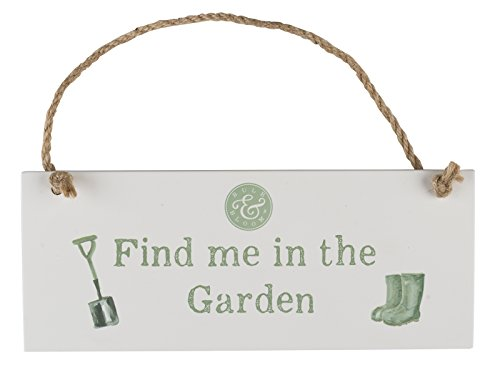 Creative Tops 'Bulb and Bloom' 'Find Me In The Garden' 20 cm x 8 cm  Outdoor Hanging Sign – White