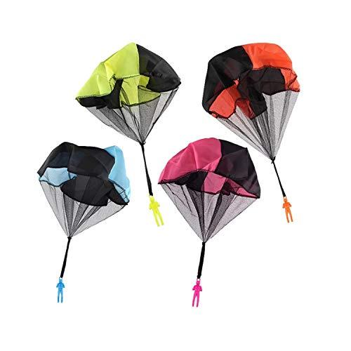 4pcs Mano Tiro Paracaídas Hombres Creativo Enredo Libre Volar Paracaídas Soldados Juguete Multicolor para Niños Adultos