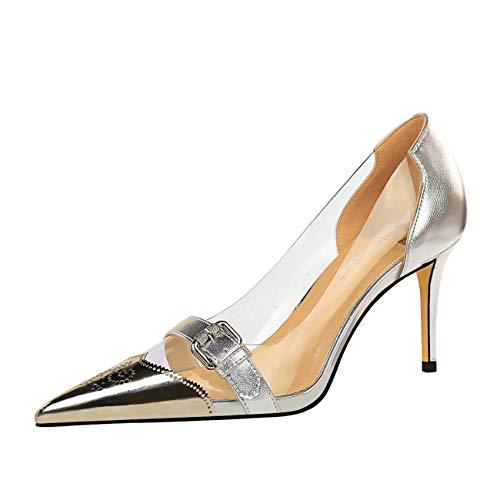 JOEupin Zapatos de tacón alto para mujer con punta de tacón grueso...