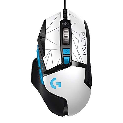 Logitech G502 HERO K/DA High Performance Gaming-Maus mit Kabel, HERO 25K-Sensor, 16,8M Farben LIGHTSYNC RGB, 11 programmierbare Tasten, Offizielles League of Legends Gaming-Zubehör - Weiß