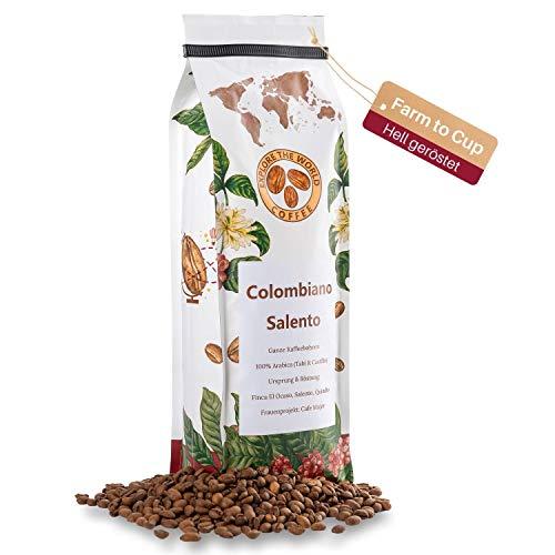 EXPLORE THE WORLD COFFEE Colombiano Salento - 500 Gramm ganze Kaffeebohnen - 100% Arabica Bohnen - Helle Röstung für Filter und French Press - Hochland Kaffee Bohnen - Kolumbianischer Kaffee (500)
