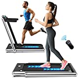 JOBO 2 in 1 Folding Treadmill, 2.3HP Under Desk Electric Treadmill, Installation-Free with Bluetooth Speaker, Remote Control and LED Display, Walking Jogging for Home Office Use (Silver)