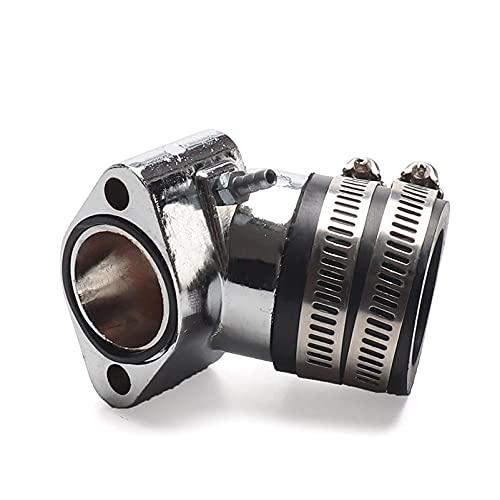 LIQIANG Colector de admisión de aleación cromada compatible para scooter ciclomotor GY6 125 GY6 150 152QMI 157QMJ / CVK30 colector de admisión de carburador