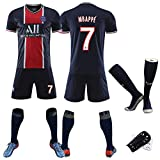 Football Sportswear 20-21 Saison Paris Heim- und Auswärtsfußballuniform 2# Silva 7# Mbappé Sport 5# Marquinhos 12# Meunier T-Shirt + Shorts + Socken + Leggings-Mbappé-26
