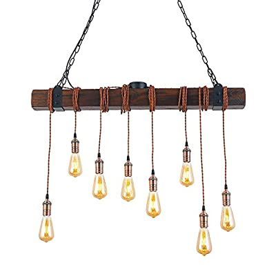Flordeer Chandelier Wood Pendant Lighting Industrial Hanging Wooden Farmhouse Vintage Ceiling Light Fixture 8 Lights for Dining Table Kitchen Island Bar Retro Hanging Lamp 37.4 inches (8-Lights)