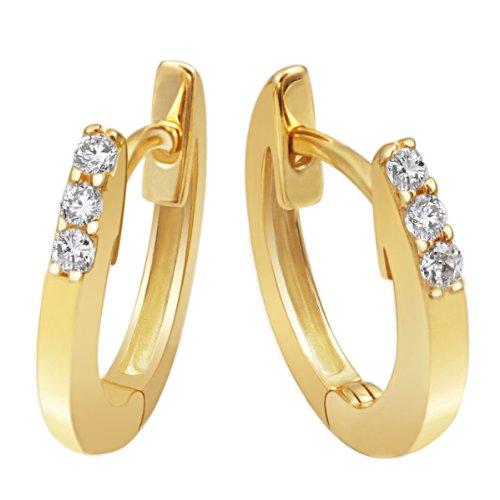 Goldmaid Damen-Creolen Ohrringe Memoire 585 Gelbgold 6 Diamanten 0.10 ct. Brillianten-Schmuck