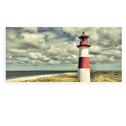 Banjado Wechselscheibe für IKEA GYLLEN Wandlampe | Glasscheibe für Wandleuchte 56x26cm | Echtglas Motiv Leuchtturm Sylt | Querformat