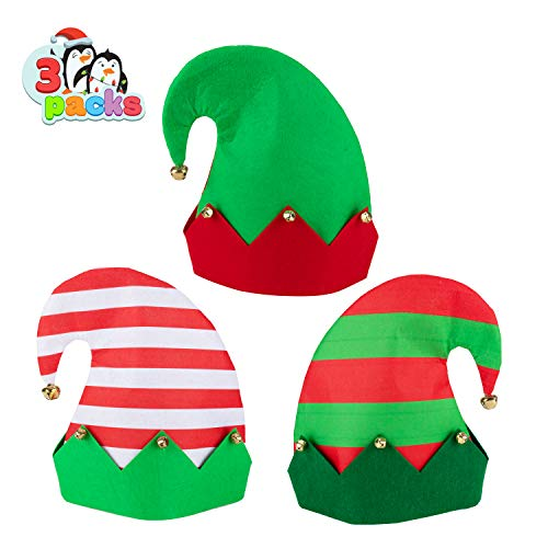 3 Packs Christmas Elf Felt Colorful Hat Christmas Holiday Party Hats Featuring One Size fits Most Unisex Hats for Jingle Bells Kids, Teens, Adults