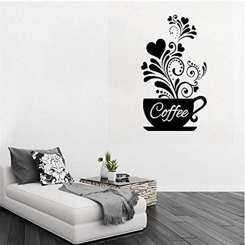 guijiumai Flor Creativa Vid Taza de café Etiqueta de la Pared para café Restaurante decoración calcomanías Papel Pintado Cocina Tallada a mano30X50CM