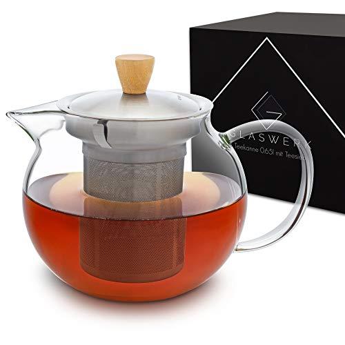 GLASWERK Teekanne Glas (0,65L) - Teekanne mit Siebeinsatz aus rostfreiem Edelstahl - Teebereiter mit Deckel und edlem Holzgriff