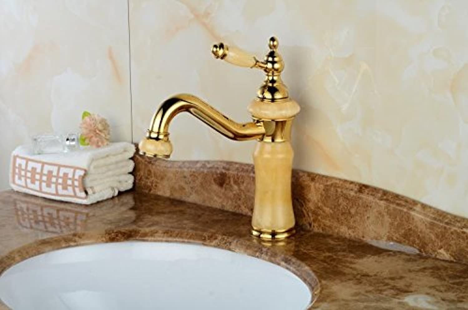 NewBorn Faucet Kitchen Or Bathroom Sink Mixer Tap Tap The Copper gold Black Ancient Basin Sink Hot And Cold Tap Natural Jade Surface The Tub Water Tap Black Pull-Down