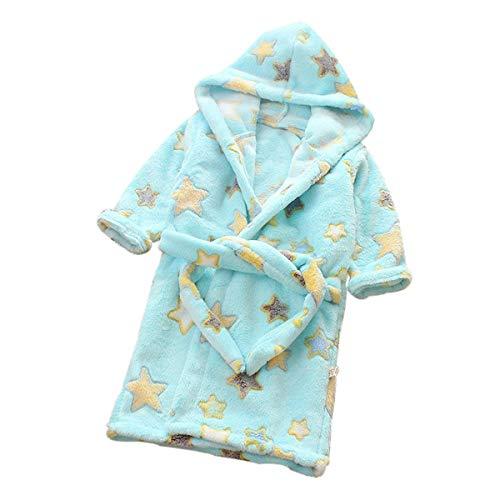 DEBAIJIA Bebé Albornoz 0-14T Infantil Bata de Baño Casa Pijama Noche Ropa de Dormir Niños Camisones Niña Niño Unisexo Franela(Azul-130)