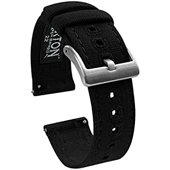 20mm Black - BARTON Canvas Quick Release Watch Band Straps - Choose Color & Width - 18mm 19mm 20mm 21mm 22mm 23mm or 24mm