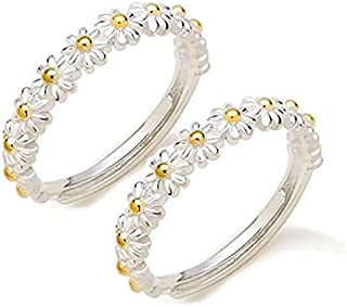 2PCS Little Daisy Ring - I Think About You Every Daisy Ring, Adjustable open Daisy Flower Hawaiian love Band Ring for Wome...