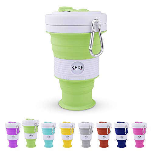 NEW Silicone Collapsible Cup 18 oz - Portable Coffee Cup - Foldaway Reusable Cup (Green, 550ml)