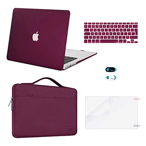 MOSISO Funda Dura Compatible con MacBook Air 13 (A1369/A1466, Versión 2010-2017),Plástico Carcasa Rígida&Funda Protectora&Pantalla Protector & Piel de Teclado & Cubierta de Webcam,Rojo Marsala