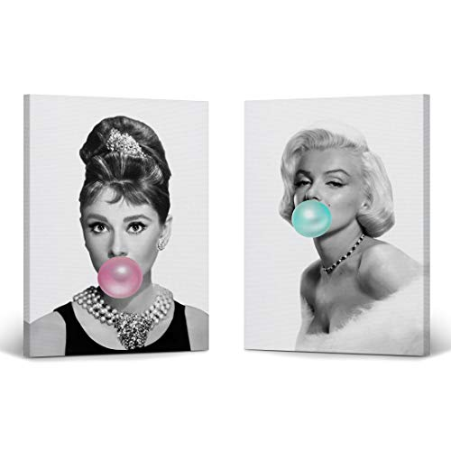 Audrey Hepburn and Marilyn Monroe Bubble Gum Chewing Gum Black and White Canvas Print Two-Piece Set/Home Decor/Icon Wall Art/Gallery Wrapped Canvas/Ready to Hang (17 x 11 x 2 Piece)