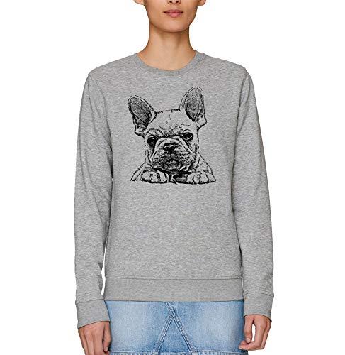 London Co. French Bulldog Frenchie Sketch Print - Felpa unisex per adulti Grigio XL