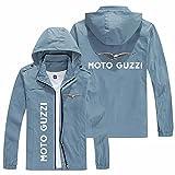 Abrigos ligeros con capucha para hombre cortavientos para moto guzzi cremallera manga larga delgada otoño chaquetas con capucha resistente al viento chaqueta gris azul, 5XL