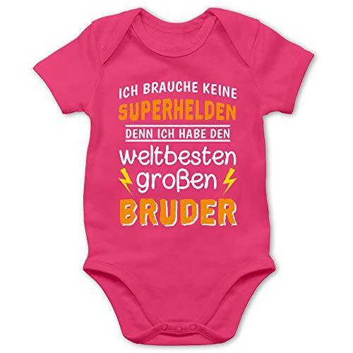 Geschwisterliebe Baby - Ich Habe den weltbesten großen Bruder - 1/3 Monate - Fuchsia - Bester Bruder Baby Body - BZ10 - Baby Body Kurzarm für Jungen und Mädchen