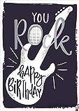 GRAFIK WERKSTATT - Biglietto di auguri per compleanno, con suono e canzone'We will rock you'