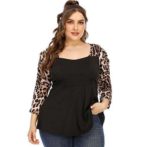 WOWOWO, Camiseta Holgada de retales de Leopardo con Mangas abullonadas para Mujer, Camisetas Sexis con Cuello...