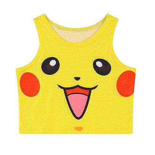 Women Bustier Crop Top Skinny T-Shirt Sports Dance Tops Vest Tank ... Yellow